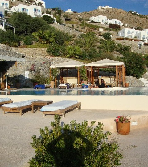Mykonos pool area at hotel